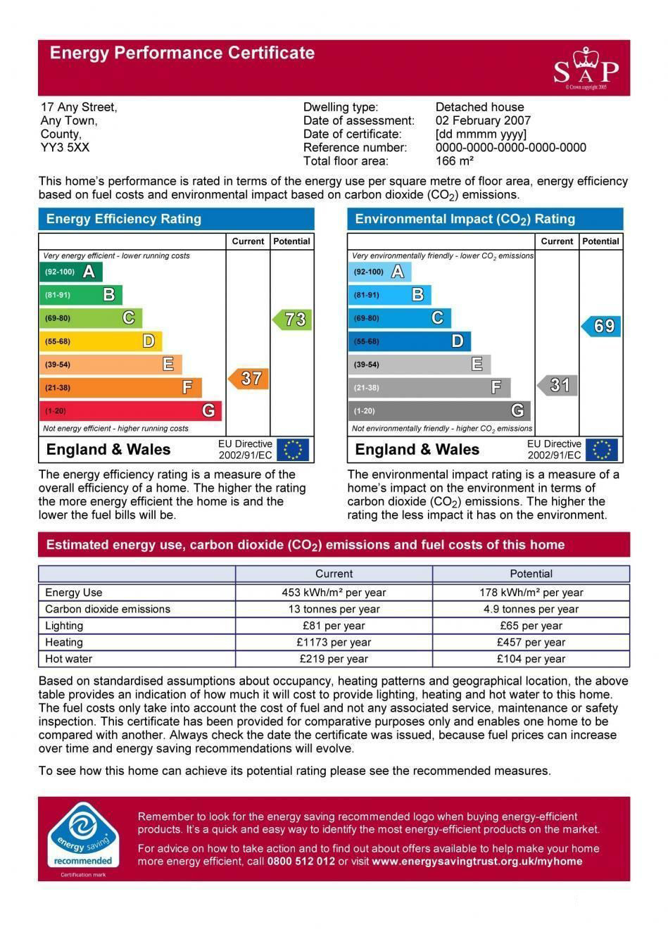 An example of an Energy Performance Certificate